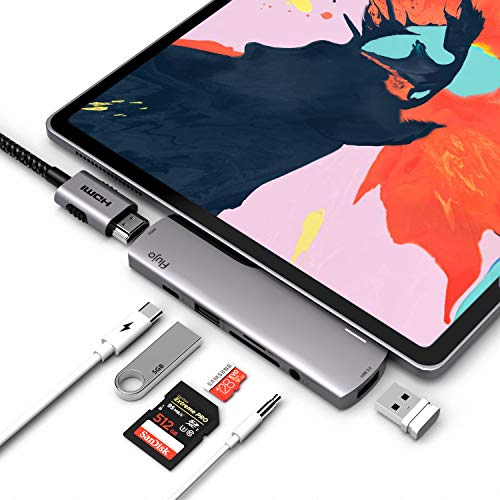 USB C Hub for iPad Pro 2018, 7 in 1 USB C Dongle with 4K HDMI, USB C PD Charging, 3.5mm Headphone Jack, SD/TF Card Reader, USB 3.0, Compatible with 2018/2020 iPad Pro 11/12.9', Surface Go (Space Grey