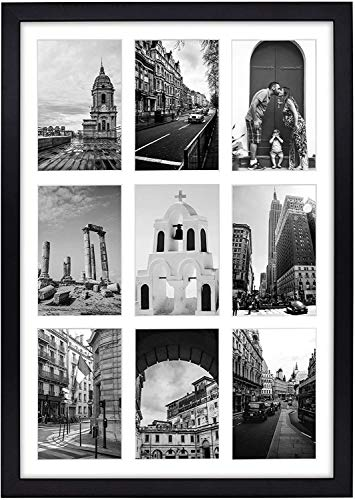 Golden State Art, 13.6x19.7 Matted Black Wood 9-Opening for 4 x 6' Collage Picture Frame