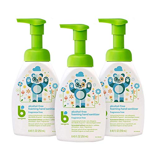 Foaming Pump Hand Sanitizer, Alcohol Free, Unscented, Kills 99.9% of Germs, 8.45oz- Babyganics Pack of 3