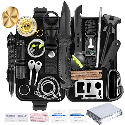 Survival Kit 35 in 1, First Aid Kit, Survival Gear, for Men Boyfriend Him Husband Camping, Hiking, Hunting, Fishing