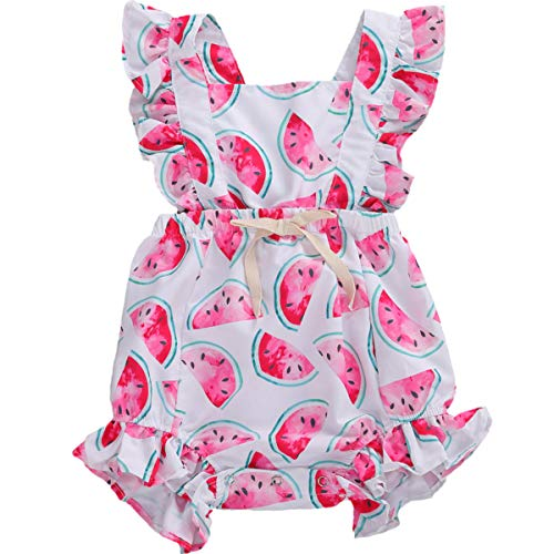 Kuriozud Baby Girl Watermelon Romper Newborn Infant Ruffle Bodysuit One-Piece Jumpsuit Clothes (B- Ruffle Watermelon Romper, 6-9 Months)