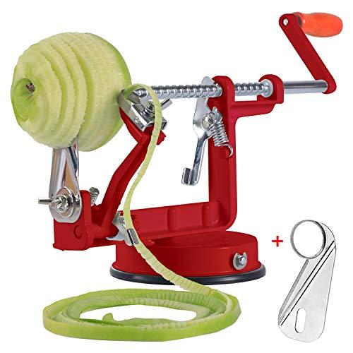 Apple Peelers, Apple Peeler Corer Slicer Apple Peeler Slicer with Suction Base 3 in 1 Slinky Machine Durable Heavy Duty Die Apple Peelers (Red)