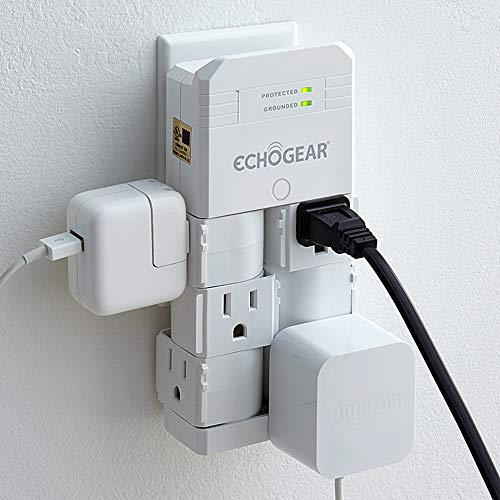 ECHOGEAR On-Wall Surge Protector with 6 Pivoting AC Outlets & 1080 Joules of Surge Protection - Low Profile Design Installs Over Existing Outlets to Protect Your Gear