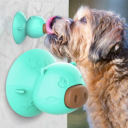 USWT Dog Lick Toy with Suction Cup, Teeth Cleaning Chew Toy, Reduce Boredom, Comes with 3pcs Dog Treat (Suction -Turquoise)