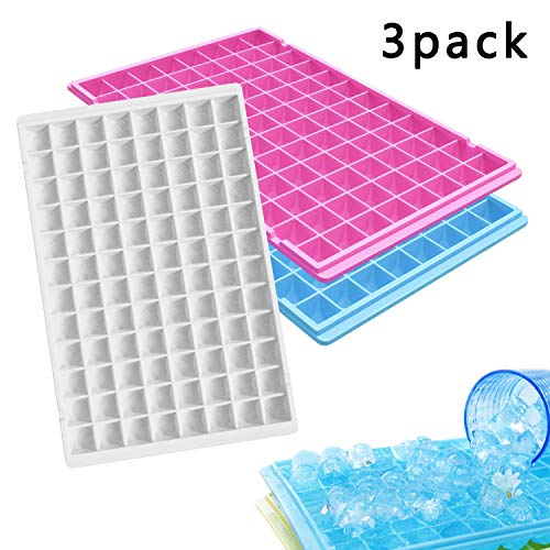 3 Pack Ice Cube Trays, Reusable Silicone Ice Cube Molds Easy Relesse 96 Diamond Mini Ice Cube Maker