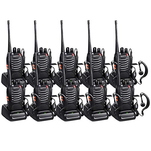 Baofeng Long Range Two Way Radios 10 Pack Walkie Talkies with Earpiece FRS UHF Handheld Reachargeble BF-888s Walkie Talkie for Adults or Kids Li-ion Battery and Charger Included