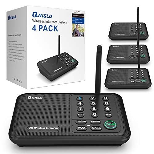 QNIGLO Intercoms, Wireless Intercom System for Home, Long Range House Intercom System for Office, Two Way Wireless Intercom Systems for Business (4-Way-Intercoms)