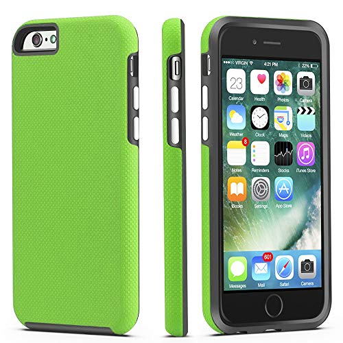 iPhone 6 / 6s Case, CellEver Dual Guard Protective Shock-Absorbing Scratch-Resistant Rugged Drop Protection Cover for Apple iPhone 6 / 6S (Lime Green)
