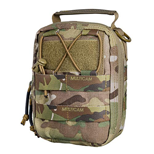 IDOGEAR Tactical MOLLE EMT Pouch Medical Pouch First Aid IFAK Utility Pouch Airsoft Hunting EDC Med Kit Bag 500D Nylon (Pouch Only) (A:Multicam)