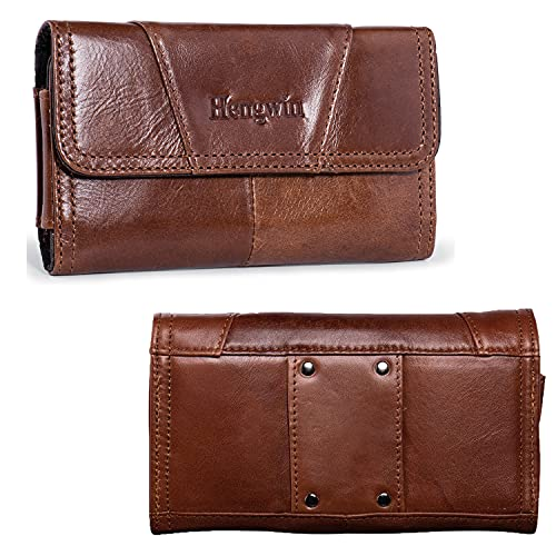 Hengwin Genuine Leather Cell Phone Belt Case for iPhone 12 Pro Max XS Max 8 Plus 7 Plus Holster with Belt Loop Samsung Galaxy Note 10+ 9 8 5 S21+ 5G Belt Carrying Pouch Holder for Men (Brown)