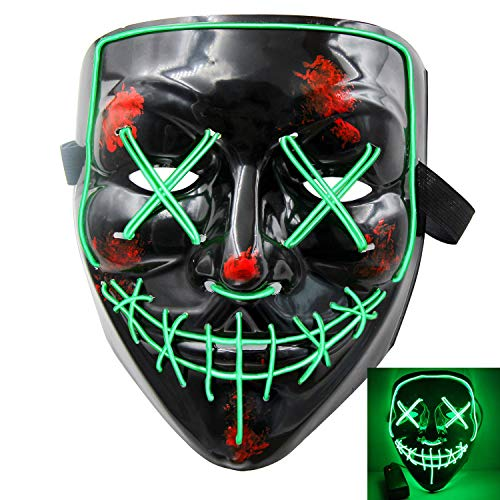 heytech Halloween Scary Mask Cosplay Led Costume Mask EL Wire Light up for Halloween Festival Party Green