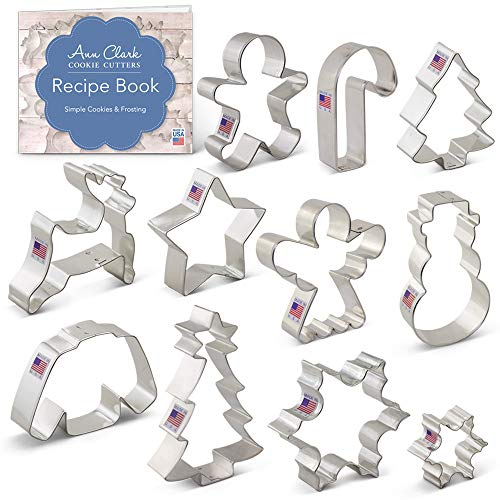 Ann Clark Cookie Cutters 11-Piece Winter Christmas Cookie Cutter Set with Recipe Booklet, Snowflake, Sweater, Snowman, Gingerbread Boy, Christmas Tree, Reindeer and More