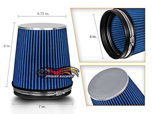 BLUE 6' 152 mm Inlet Short Truck Cold Air Intake Cone Replacement Performance Washable Clamp-On Dry Air Filter (6' Tall)