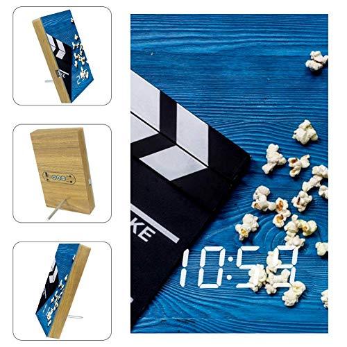Lyetny Movie Clapperboard and Popcorn Digital Alarm Clock Display Time Temperature Date LED Decorative Clock
