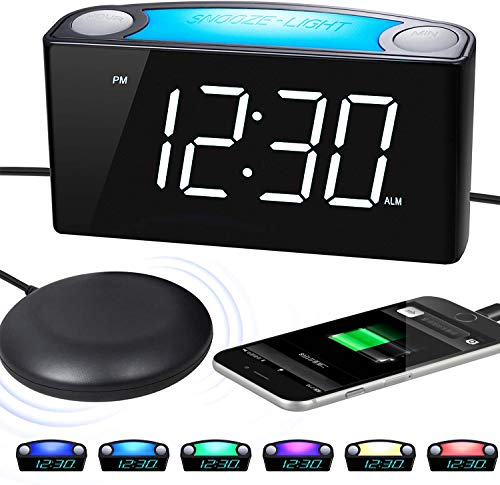 Loud Alarm Clock for Heavy Sleepers with Bed Shaker, 0-100% Dimmer, Vibrating Bedroom Digital Clock with 7' Large LED Display, Phone Charger, Night Light, Big Snooze Button for Deaf Hard of Hearing