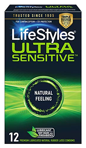 LifeStyles Ultra Sensitive Natural Feeling Lubricated Latex Condoms, 12 Count