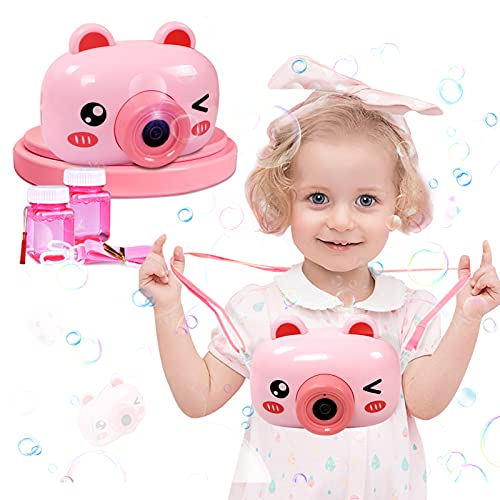 MAN NUO Bubble Machine Toys Bubbles for Toddlers Cute Pink Pig Bubble Camera Blower with 2 Bubble Solution,Music/Light/Auto Feature Gifts Toys for 1 2 3 4 5 6 Year Old Boys/Girls/Kids Gifts