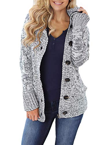 Asvivid Womens Chunky Button Up Hooded Sweater Solid Faux Fur Lined Cardigans Fashion 2020 Ladies Jacket Grandmother Pocket Outwear M Grey