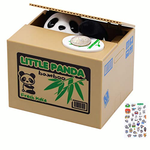 Mischief Panda Saving Box,Piggy Bank with Cute Little Panda Inside, Automated Panda Coin Saving Piggy Bank, Perfect for Kids of All Ages, Great Gift for Any Child (Panda Version)