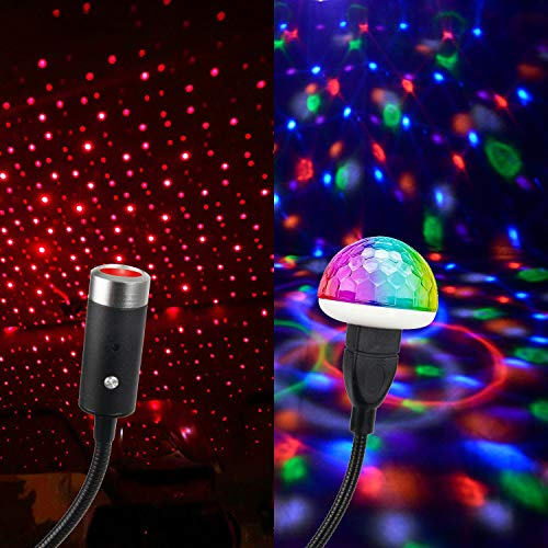 USB Star Night Light Projector and Mini Disco Ball Light, Adjustable Auto Roof Interior Car Ceiling Lights, Flexible Atmosphere Strobe Light Decorations for Bedroom Car Party Ceiling -Plug and Play