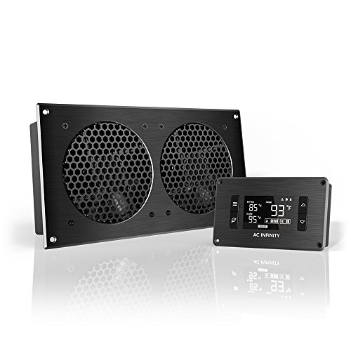 AC Infinity AIRPLATE T7, Quiet Cooling Fan System 12' with Thermostat Control, for Home Theater AV Cabinets