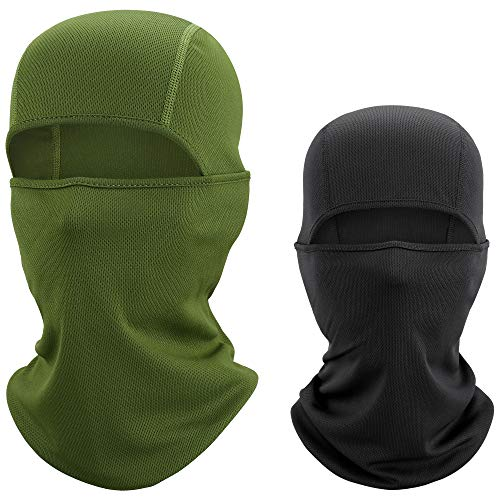 WTACTFUL 2 Pack - Balaclava UV Protection Windproof Breathable Face Mask - Cycling Hiking Motorcycle Riding Racing Hunting Climbing Camping Tactical Ski Snowboard Mask for Men Women Black&Army Green