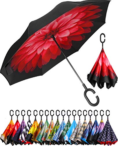BAGAIL Double Layer Inverted Umbrella Reverse Folding Umbrellas Windproof UV Protection Big Straight Umbrella for Car Rain Outdoor with C-Shaped Handle (Pink)