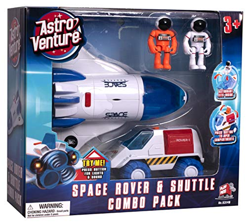 Astro Venture Space Playset - Toy Space Shuttle & Space Rover with Lights and Sound & 2 Astronaut Figurine Toys for Boys and Girls