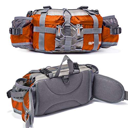 Bp Vision Outdoor Fanny Pack Hiking Camping Biking Waterproof Waist Pack 2 Water Bottle Holder Sports Bag for Women and Men Orange