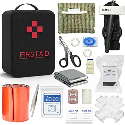 SHBC Emergency Survival Trauma Kit with CAT Tourniquet, Israeli Bandage, Tourniquet 36 Inch Splint and Other Emergency Medical Supplies for First Aid Responses Like Gun Shots, Severe Bleeding