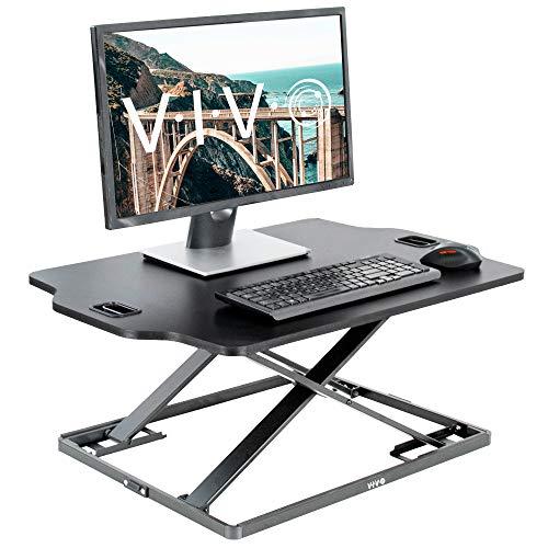 VIVO Black Single Top Height Adjustable 27 inch Standing Desk Converter, Sit Stand Tabletop Monitor Laptop Riser Workstation (DESK-V000HB)