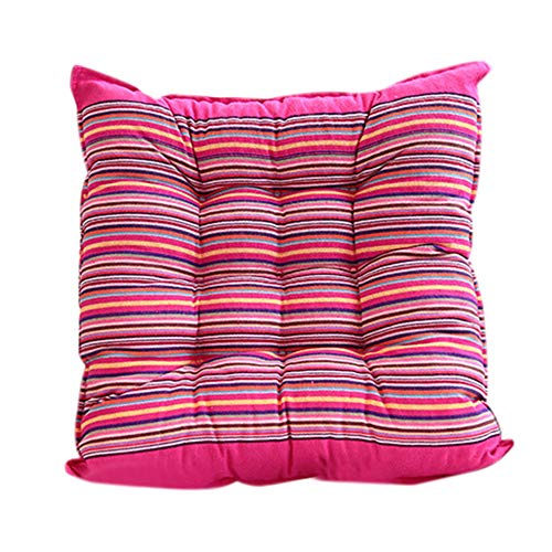 Allywit Patio Stripe Square Thicken Chair Pads Outdoor/Indoor Bistro Home Dining Chairs Seat Cushion with Ties for Non Slip (Hot Pink)