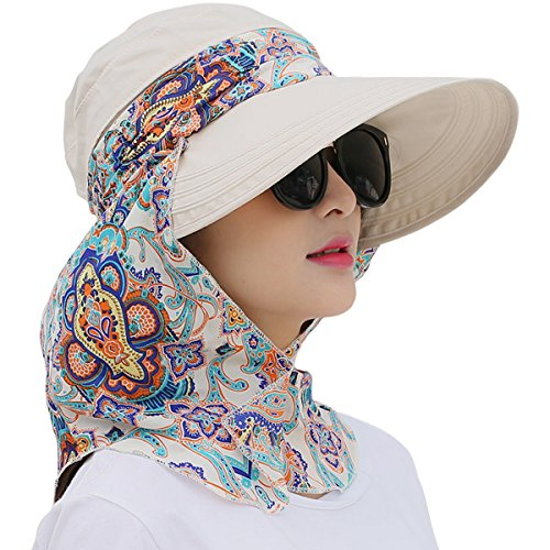 Lanzom Women Lady Wide Brim Cap Visor Hats UV Protection Summer Sun Hats (White) One Size