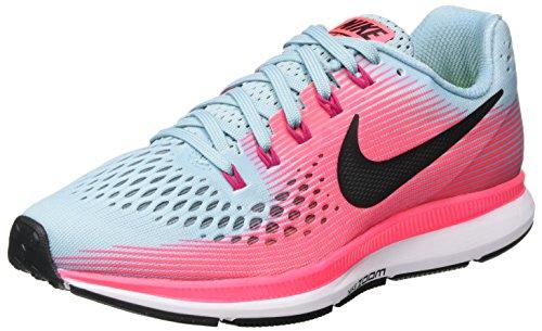 NIKE Women's Air Zoom Pegasus 34 Running Shoe (MICA Blue/White-Racer Pink-Sport Fuchsia, 8 M US)