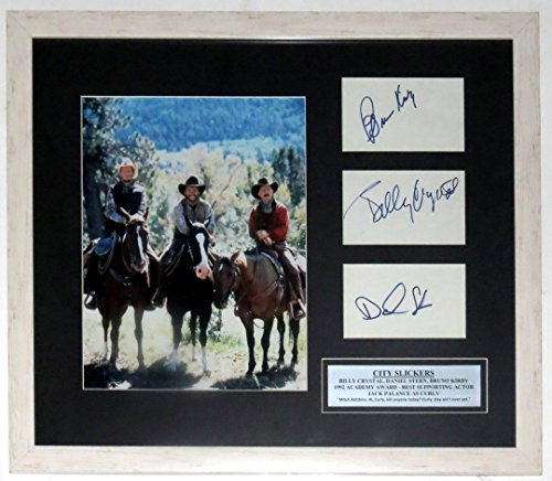 BILLY CRYSTAL BRUNO KIRBY DANIEL STERN AUTOGRAPHED CITY SLICKERS PHOTO COMPILATION - PSA DNA COA AUTHENTICATED - CUSTOM FRAMED & PLATE 24X30