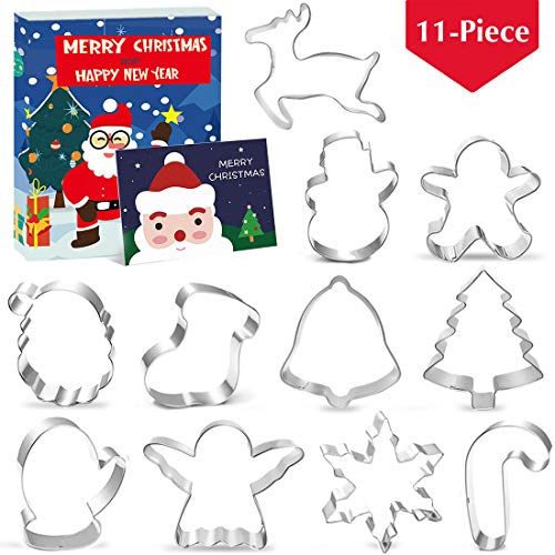 Christmas Shapes Cookie Cutters Set of 11, Gingerbread Man Snowflake Angel Tree Reindeer Santa Snowman Mitten Ornament Bell Sock Crutch for Kids, Metal Holiday Winter Stamp Stainless Steel Gift of 3'