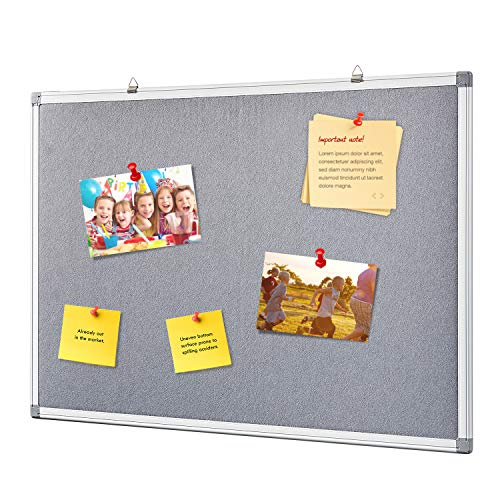 Swansea Fabric Pin Board Felt Bulletin Boards Gray Noticeboard for Home Office School,with Fixing, 24x18inches