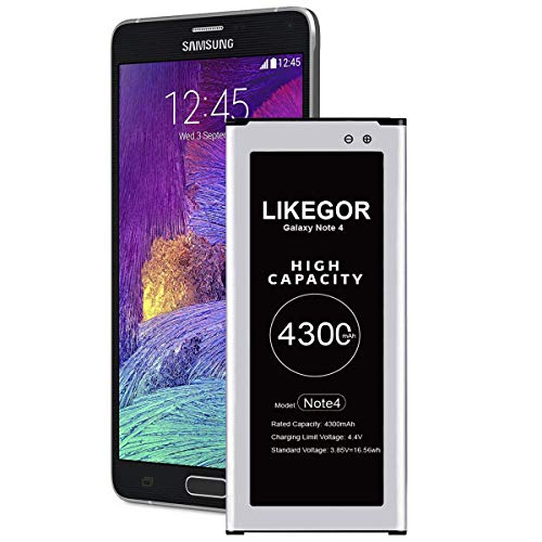 LIKEGOR Galaxy Note 4 Battery, 4300mAh High Capacity Battery Replacement for Samsung Note4 N910, N910U, 4G LTE, N910V(Verizon), N910T(T-Mobile), N910A(AT&T), N910P(Sprint)
