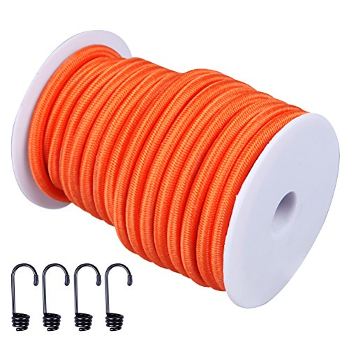 CARTMAN 1/4' Elastic Cord Crafting Stretch String, 40kg x 50ft, with 4 More Hooks, Orange Color