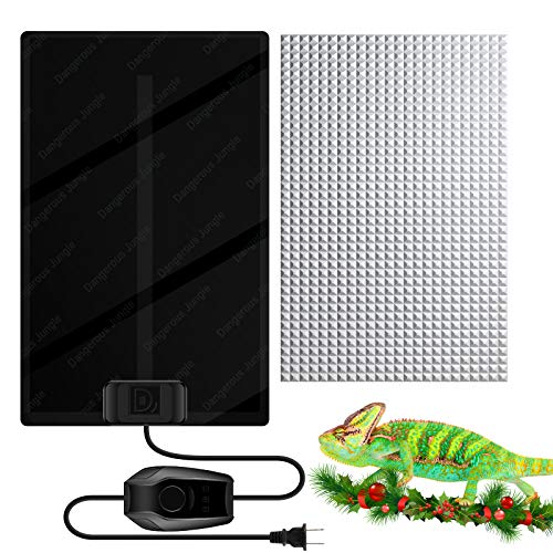 MOSONTH Reptile Heating Pad 12W Temperature Adjustable Under Tank for 20-30gal Terrarium Heat Mat for Turtle, Tortoise, Lizard, Spider, Snake, Frog, Plant Box Winter Heat Device