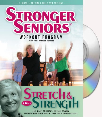 Stronger Seniors Stretch and Strength DVDs- 2 disc Chair Exercise Program- Stretching, Aerobics, Strength Training, and Balance. Improve flexibility, muscle and bone strength, circulation, heart health, and stability. Developed by Anne Pringle Burnell