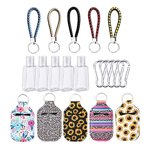 5 PCS Hand Sanitizer Holder Keychain, Travel Size Bottle Holder Refillable Containers for Soap, Lotion, and Liquids with 5 Woven Key Chains, 5 Carabiner Clip, 5 pcs 30 ML Flip Cap Reusable Bottles