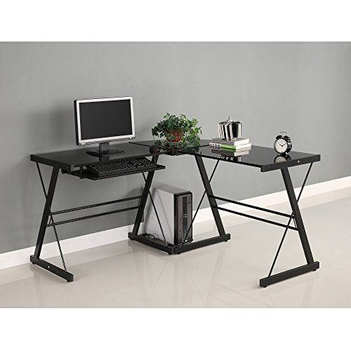 Walker Edison AZ51B29 Soreno 3-Piece Corner Desk, Black Glass, 29' x 20' x 51' (Renewed)