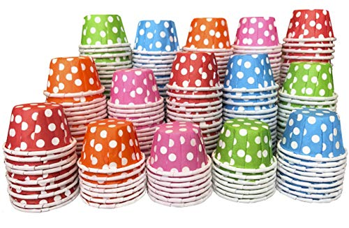 Mini Paper Taster Cups - Sample .5 Ounce Souffle Cups - Pink Red Blue Green Orange Polka Dot - 250 Pack