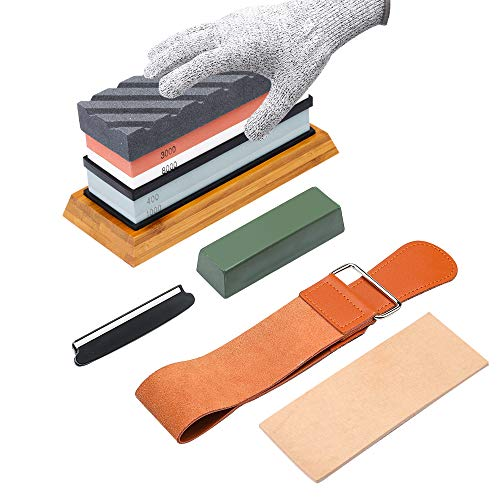 Complete Knife Sharpening Stone Kit–400/1000 and 3000/8000 Grit Whetstone set, Professional wet stone sharpeners kit with Flattening Stone, Leather Strop, Angle Guide, Gloves and Non-slip Bamboo Base