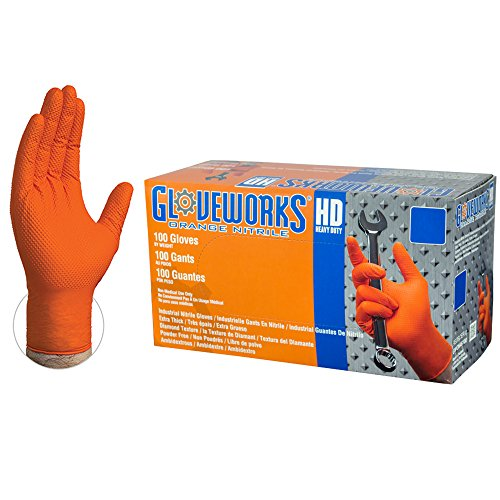 GLOVEWORKS HD Industrial Orange Nitrile Gloves with Diamond Texture Grip, Box of 100, 8 mil, Size Large, Latex Free, Powder Free, Textured, Disposable, GWON46100-BX