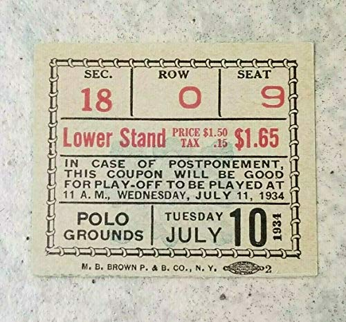 1934 BASEBALL ALL STAR TICKET - HUBBELL 5 CONSECUTIVE STRIKEOUTS - RUTH GEHRIG