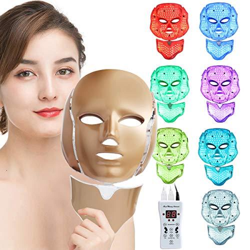 Cinlinso LED Face Màsk, 7 Color LED Face Màsk Light Theràpy, LED Facial Màsk Skìn Care Màsk with Neck