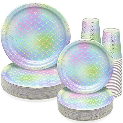 150 PCS Mermaid Party Supplies Paper Dinnerware Set - Bridal Wedding Baby Shower Girl Birthday Hawaii Ocean Cocktail Party Disposable Tableware with 50 Dinner Plates, 50 Dessert Plates, 50 9 oz Cups