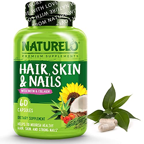 NATURELO Hair, Skin and Nails Vitamins - 5000 mcg Biotin, Collagen, Natural Vitamin E - Supplement for Healthy Skin, Hair Growth for Women and Men – 60 Capsules
